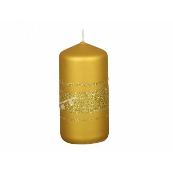 Svíčka vánoční FENIX VÁLEC metalická matná d4x8cm