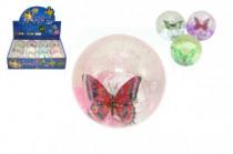 Míček/hopík motýl svítící 7cm - mix variant či barev
