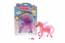 Kůň s křídly a s hřebenem česací plast 14cm - mix barev
