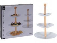 podnos 3 patra kulatý 16,5cm, 20cm, 27cm porcelán/dřevo