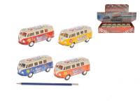 Autobus Volkswagen 13 cm kov zpětný chod - mix barev