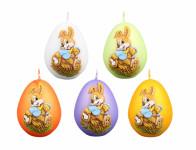 Svíčka ZAJÍČEK velikonoční vejce metalická matná d4,5x6cm