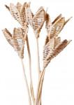 Dekorace - Lata ve tvaru květu na tyčce - přírodní 2 ks