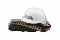 Sada policie helma+samopal na setrvačník s doplňky plast