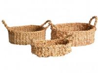 košík oválný s úchyty malý 24x17x7cm mořská tráva