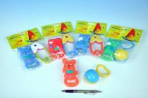 Zvířátko gumové+chrastítko plast 11cm - mix variant či barev