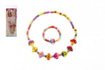 Náhrdelník a náramek korálky barevné plast 15cm - mix variant či barev
