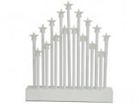 svícen vánoční el.17 svíček LED, hvězda, dřev. BÍ, 27,7x26x4cm, do