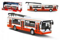 Trolejbus český kovový červený 16cm na zpětný chod CZ design