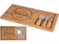 prkénko na sýr bambus sada 4díl.(prkénko 38x18,5x1,5cm, 2x nůž, 1x vidlička)