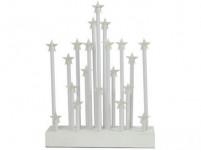 svícen vánoční el.20 svíček LED, hvězda, dřev. BÍ, 22,3x29,5x5cm, d