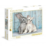Puzzle 500 dílků Kočka a králík