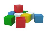 Kostky stavební 7 cm barevné 10 ks ve fólii