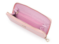Dámská peněženka na zip s prošívanou mřížkou a zlatou korunkou, eko kůže, světle růžová