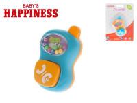 Chrastítko telefonek 9 cm s kuličkami Baby´s Happiness - mix barev