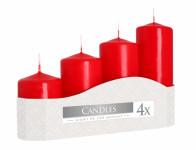 Svíčky adventní STUPŇOVITÉ matné d5x7,9,11,13cm 4ks