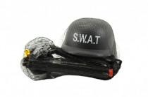 Sada SWAT helma+pistole na setrvačník s doplňky plast
