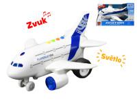 Letadlo dopravní 25 cm 1:160 na setrvačník na baterie se světlem a zvukem - mix variant či barev