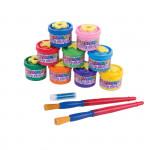 Prstové barvy v kelímku 9 barev x 40 ml + razítka+ 2štětce + třpytky + papír