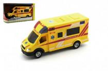 Auto ambulance záchranáři plast 18cm na setrvačník český design