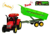 Traktor s vlečkou 35 cm na setrvačník na baterie se světlem a zvukem - mix variant či barev