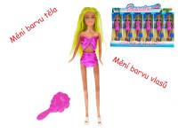 Panenka kloubová 29 cm plážová měnící barvu těla a vlasů s doplňky