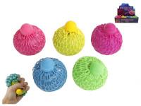 Míček strečový 6 cm s neonovou perlou a hmotou - mix barev