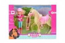 Kůň česací s doplňky + panenka žokejka plast