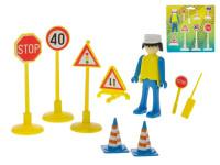 Sada dopravního značení 6 ks s panáčkem a doplňky - mix barev