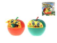 Pokladnička červené jablko s červíkem na klíček plast 16x10cm