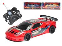R/C auto sportovní 23 cm plná funkce na baterie se světlem 27 MHz - mix barev