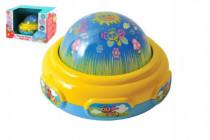 Lampička/ promítačka na zeď plast 15cm na baterie se světlem a zvukem v krabičce 24x16,5cm
