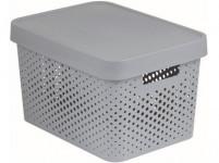 box úložný INFINITY děrovaný 36,3x27x22,2cm s víkem, plastový, ŠE