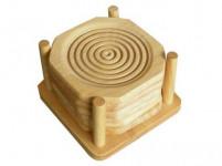 podtácky 9x9cm (6ks) ve stojánku kaučuk. dřevo