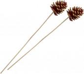 Dekorace - Blue Pine na tyčce - červený se zlatými flitry 2 ks