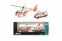 Vrtulník/helikoptéra + auto ambulance kov