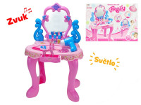 Kosmetický stolek 41x30x60 cm na baterie s příslušenstvím se světlem a zvukem