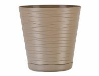 Obal na květník TEDI plastový hnědo šedý d13cm
