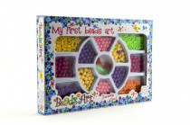 Korálky plast 0,5cm v krabici 26x18cm - mix barev