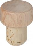 Zátka T dřevěná přírodní průměr 18,5mm (top 30 mm) - 10 ks