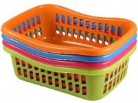 košík TIN 36x25x11cm plastový (velký) - mix barev