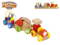 Vláček s vagónky 34 cm dřevěný 2-Play