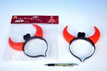 Čertovské rohy svítící plast 15cm na baterie 2xAG13 v sáčku karneval