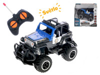R/C auto terénní policie 13 cm 1:43 27 MHz plná funkce na baterie se světlem - mix barev