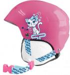 Spokey AURORA dětská lyžařská přilba růžová s kočičkou, vel. XS