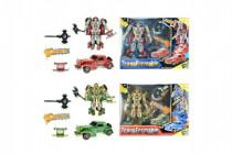 Transformer auto/robot veterán plast na baterie se světlem se zvukem v krabici 34x26x9c - mix variant či barev