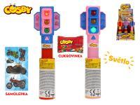 Cosby semafor 20 cm na baterie se světlem s cukrovinkou a samolepkou - 12 ks - mix barev