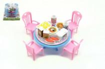 Stůl a židle s doplňky plast 12cm v blistru - mix barev