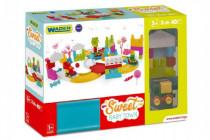Autodráha sladké městečko plast 55ks + 3 auta v krabici Wader 12m+