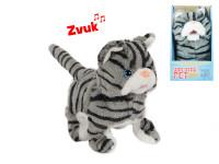 Kočka plyšová 15,5 cm chodící a běžící na baterie se zvukem